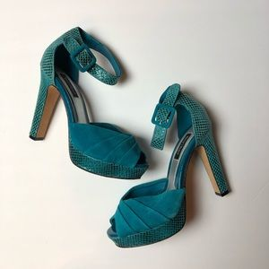 White House Black Market Pleated Suade/Snake Heels